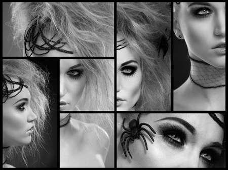 put up: Black and white image mosaic. Halloween makeup on beautiful young woman. Stock Photo