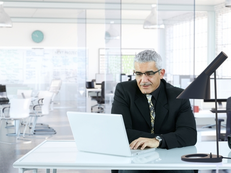 Senior businessman sitting in modern office, working with laptop computer. photo