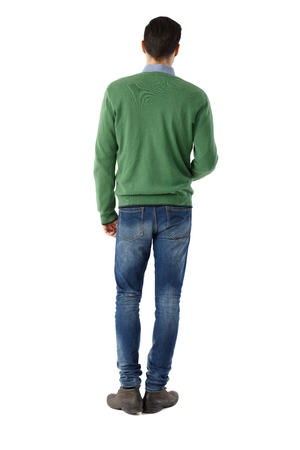 full size: Back view of casual man standing over white background.