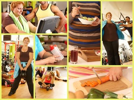 Afbeelding mozaïek van gewichtsverlies, dikke vrouw die training doet, het eten van gezonde, dieet, veranderende levensstijl.