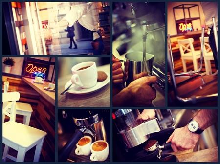 유행: 트렌디 한 도시의 카페 분위기의 사진 이미지 그리드. 스톡 콘텐츠