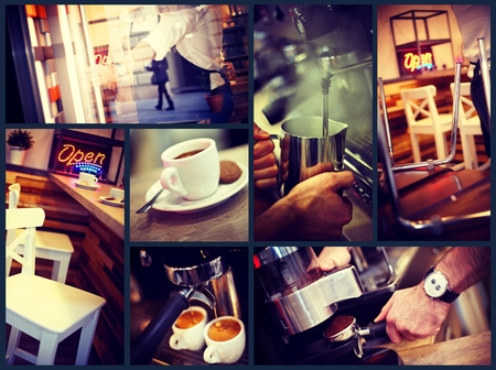 trendy: Image grid of atmospheric photos of a trendy urban cafe.