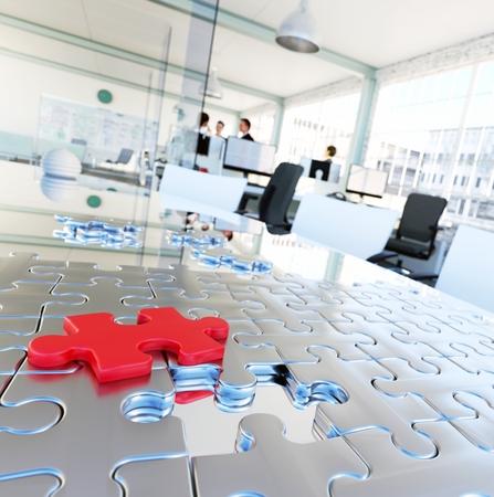 ビジネス ソリューションを提供する育児イメージ。会議テーブル バック グラウンドで近代的なオフィスにパズルのピース。 写真素材