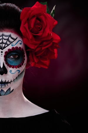 makeup: Half portrait of woman in professional makeup for halloween. Stock Photo
