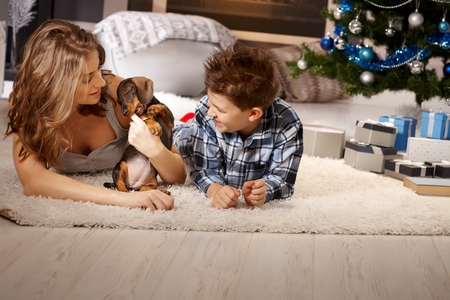 nighty: Young mother and son playing with puppy at christmas time, lying on floor. Stock Photo
