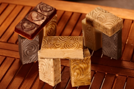 stilllife: Still-life with aesthetic natural soap bars. Stock Photo