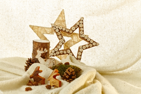 pineal: Natural christmas decoration with stars, reindeer and pineal.