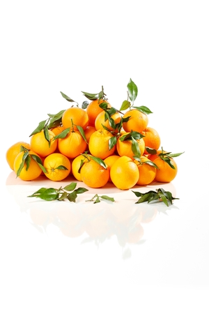 pile of leaves: Pile of fresh oranges with leaves over white background. Stock Photo