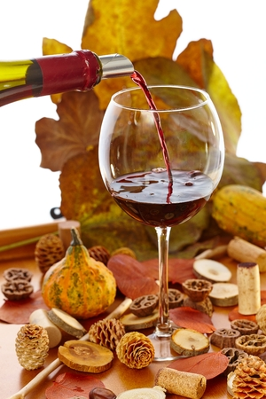 dead leaf: Glass of wine at vintage time among autumn decoration.