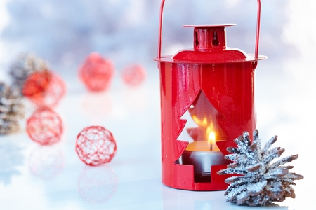 pineal: Christmas decoration in red, night-light and pineal. Stock Photo