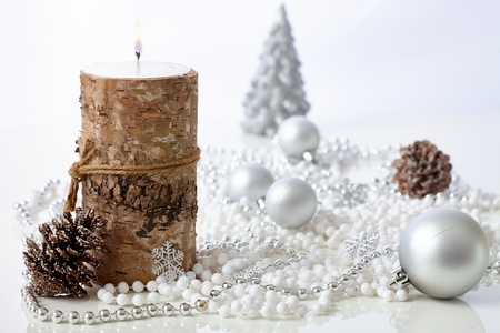 christmas candle: Pure natural christmas decoration with ornaments and candle.
