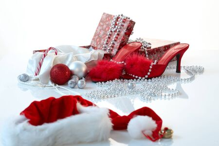 stilllife: Christmas still-life with high heel slippers and presents.