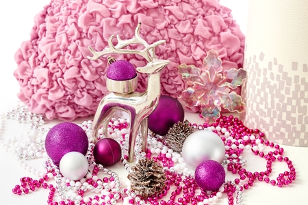 stilllife: Christmas still-life with reindeer and ornaments.