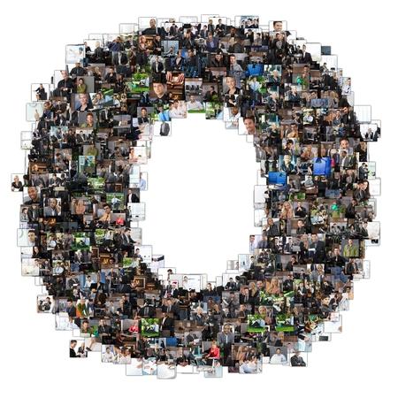 Litera O photomosaic z fotografii biznesowych ludzi. Wszystkie inne litery ABC można znaleźć w mojej protfolio - użyj photomosaic słów kluczowych!