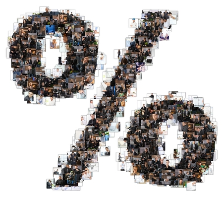 Percent sign photomosaic made of business photos of people. All the other letters of the ABC can be found in my protfolio - use the keyword photomosaic! Banco de Imagens