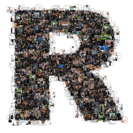 business letters: Letter R photomosaic made of business photos of people. All the other letters of the ABC can be found in my protfolio - use the keyword photomosaic!
