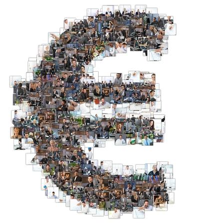business letters: Euro sign photomosaic made of business photos of people. All the other letters of the ABC can be found in my protfolio - use the keyword photomosaic! Stock Photo