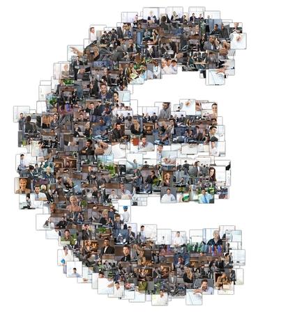 dinero euros: Muestra euro photomosaic hecho de fotos de negocio de personas. Todas las otras letras del ABC se pueden encontrar en mi protfolio - utilizar el photomosaic palabra clave!