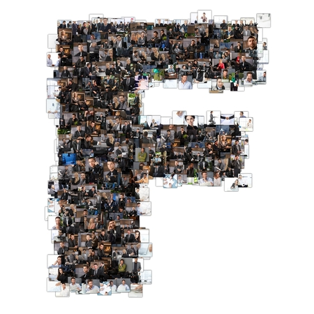 Letter F photomosaic made of business photos of people. All the other letters of the ABC can be found in my protfolio - use the keyword photomosaic! photo