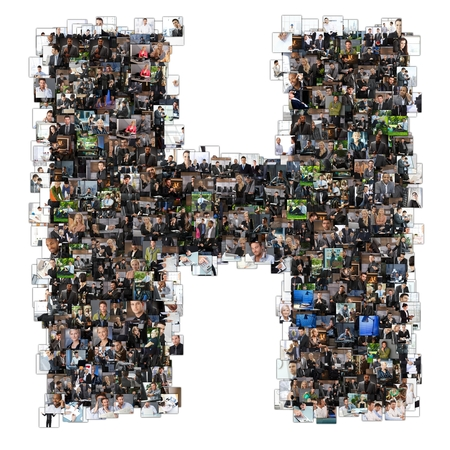 Letter H photomosaic made of business photos of people. All the other letters of the ABC can be found in my protfolio - use the keyword photomosaic! photo