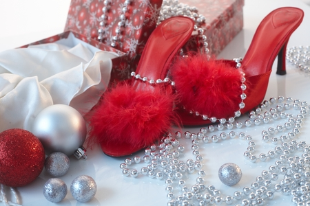 no heels: Christmas time in red with high heel slippers and boxes.