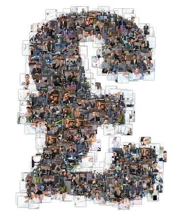 British pound sign photomosaic made of business photos of people. All the other letters of the ABC can be found in my protfolio - use the keyword photomosaic! photo