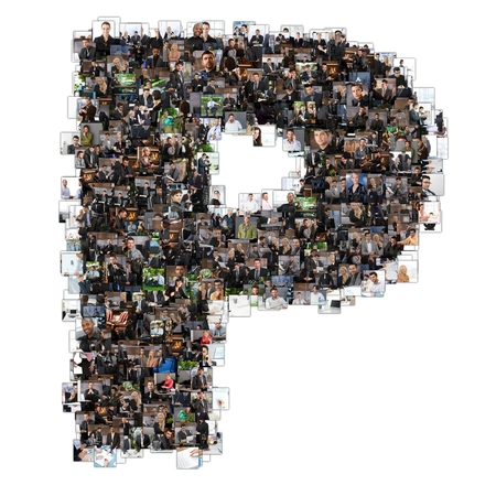 Letter P photomosaic made of business photos of people. All the other letters of the ABC can be found in my protfolio - use the keyword photomosaic! photo