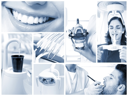 dental chair: Image mosaic of dental photos in hightech dentists surgery. Stock Photo