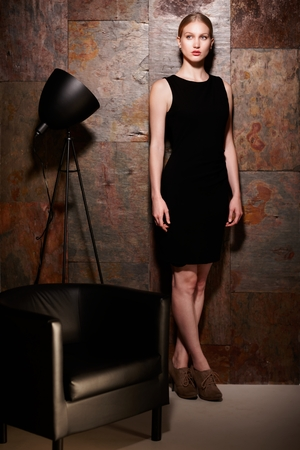 image size: Full size studio shot of elegant blonde woman in little black dress standing over metal looking wall.