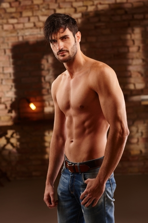 bare chest: Sexy photo of handsome young man with bare upper body. Stock Photo