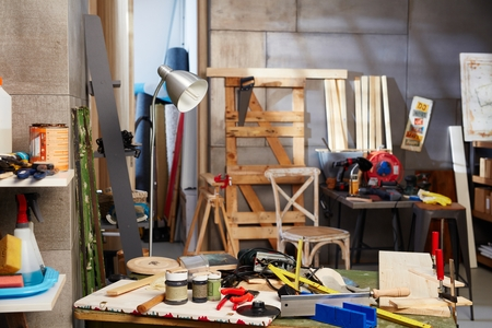 messy: Interior of messy workshop.