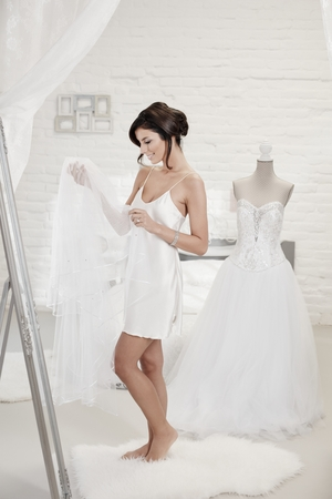 dressing up: Bride dressing up on wedding-day, looking at veil. Stock Photo