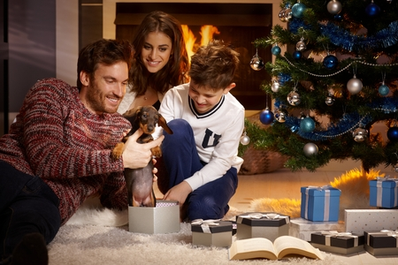 Happy family opening christmas box, holding puppy, all smiling. photo