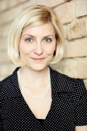Closeup portrait of young blonde woman.