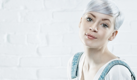platinum hair: Portrait of beautiful young woman with platinum blonde hair.