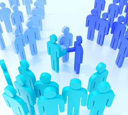 Leaders of three groups shaking hands. Digitally generated image. 3D illustration. Stock Photo