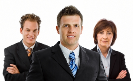 Team portrait of smiling business people, white background. photo
