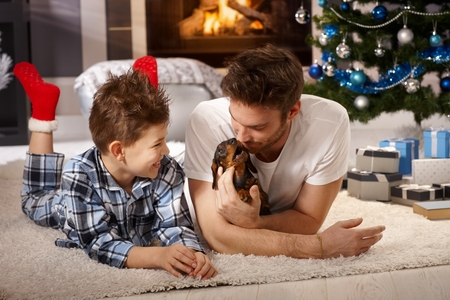 tenderly: Happy little boy and father playing on floor with dachshund puppy at christmas time.