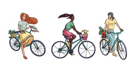 Vector illustration of a girls riding a bicycle. Happy beautiful female characters isolated on white background.