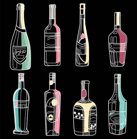 Hand drawn alcohol bolltes. Vector sketch of a bottles colored with white outline on black background. Ilustracja