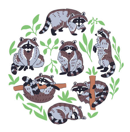 Hand drawn vector set of otters. Cute doodle illustration of Lutra lutra in different poses. Circle composition with plants and water drops. Ilustração