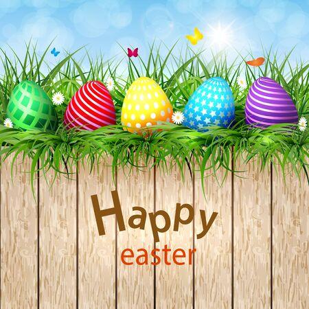 Golden Easter eggs on a wooden layout. Illustration