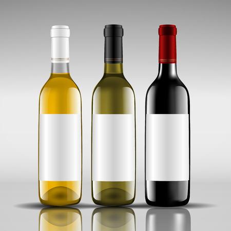 bottles of red and white wine Illustration