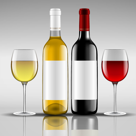 bottles of red and white wine with glass Illustration