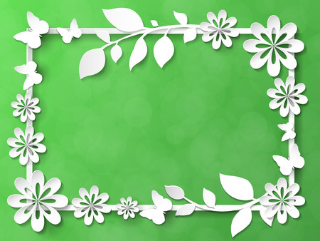 White frame with leaves and flowers vector illustration Illustration