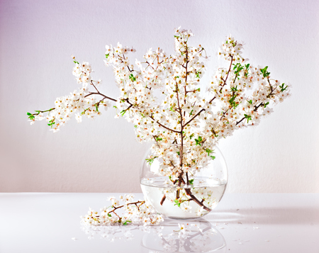 Branches Of A Blossoming Apple Tree In A Glass Vase With Water Stock