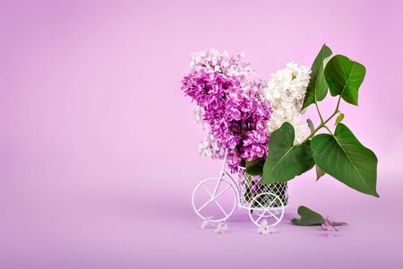 Branches of lilacs in a decorative basket on purple background.