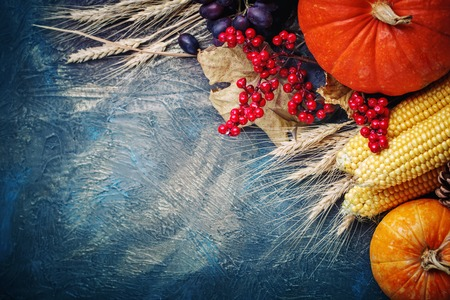 The table, decorated with vegetables and fruits. Harvest Festival,Happy Thanksgiving. Stock Photo