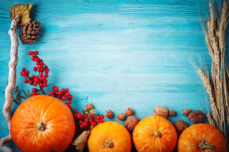 The table, decorated with vegetables and fruits. Harvest Festival,Happy Thanksgiving.