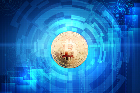 electronic background: Gold coin of bitcoin on an abstract background. Business background. Stock Photo